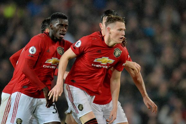 epa07883508 Manchester United's Scott McTominay (R) celebrates with teammates after scoring during the English Premier League soccer match between Manchester United and Arsenal London in Manchester, Britain, 30 September 2019. EPA/PETER POWELL EDITORIAL USE ONLY. No use with unauthorized audio, video, data, fixture lists, club/league logos or 'live' services. Online in-match use limited to 120 images, no video emulation. No use in betting, games or single club/league/player publications