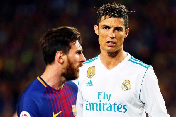 epa06715822 FC Barcelona's striker Lionel Messi (L) and Real Madrid's striker Cristiano Ronaldo (R) react during the Spanish Primera Division soccer match between FC Barcelona and Real Madrid at Camp Nou in Barcelona, Spain, 06 May 2018. EPA/ALEJANDRO GARCIA