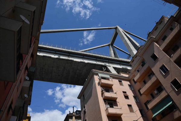 Nearby buildings of the partially collapsed Morandi bridge in Genoa, Italy, 16 August 2018. Italian authorities, worried about the stability of remaining large sections of the bridge, evacuated about 630 people from nearby apartments. The Genoa prefect's office on Thursday corrected the death toll, saying 38 people are known to have died, not 39 as previously reported. The death toll remains provisional. ANSA/LUCA ZENNARO