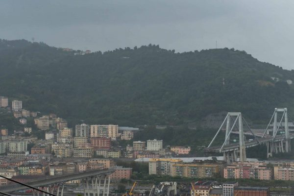 A general view from the hill of Coronata of the Morandi highway bridge, which collapsed causing 43 victims, during a heavy rain alert in Genoa, Italy, 25 August 2018 ANSA/SIMONE ARVEDA