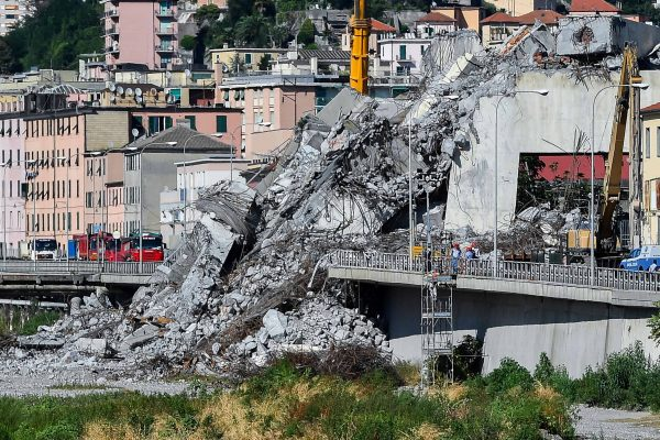 A ministerial commission inspect the rubble of the Morandi highway bridge, which partially collapsed on 14 August, claiming 43 lives, in Genoa, Italy, 27 August 2018. ANSA/SIMONE ARVEDA