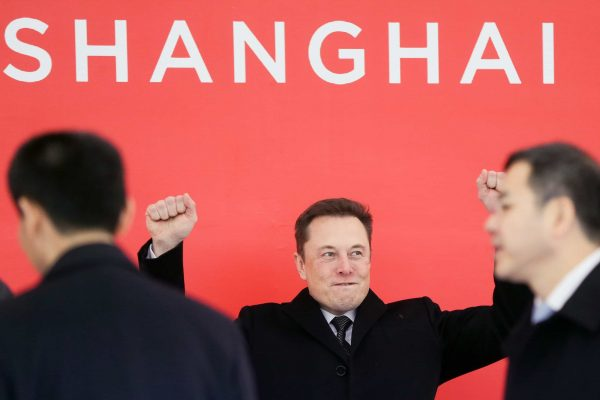 SHANGHAI, Jan. 7, 2019 Tesla CEO Elon Musk (C) attends the groundbreaking ceremony of Tesla Shanghai Gigafactory in Shanghai, east China, Jan. 7, 2019.. U.S. electric carmaker Tesla Inc. on Monday broke ground on its Shanghai factory, becoming the first to benefit from a new policy allowing foreign carmakers to set up wholly-owned subsidiaries in China. The new plant, Tesla's first outside the United States, is located in Lingang Area, a high-end manufacturing park in the southeast harbor of Shanghai. It is designed with an annual capacity of 500,000 electric cars. Tesla signed the agreement with the Shanghai municipal government in July 2018 to build the factory. In October, the company was approved to use an 864,885-square-meter tract of land in Lingang for its Shanghai plant. (Credit Image: © Xinhua via ZUMA Wire)