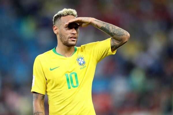epa06845930 Neymar of Brazil at the end of the FIFA World Cup 2018 group E preliminary round soccer match between Serbia and Brazil in Moscow, Russia, 27 June 2018. Brazil won 2-0. (RESTRICTIONS APPLY: Editorial Use Only, not used in association with any commercial entity - Images must not be used in any form of alert service or push service of any kind including via mobile alert services, downloads to mobile devices or MMS messaging - Images must appear as still images and must not emulate match action video footage - No alteration is made to, and no text or image is superimposed over, any published image which: (a) intentionally obscures or removes a sponsor identification image; or (b) adds or overlays the commercial identification of any third party which is not officially associated with the FIFA World Cup) EPA/MAHMOUD KHALED EDITORIAL USE ONLY
