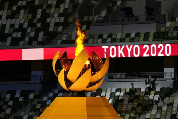epa09360157 The cauldron with the Olympic flame is litduring the Opening Ceremony of the Tokyo 2020 Olympic Games at the Olympic Stadium in Tokyo, Japan, 23 July 2021. EPA/KIMIMASA MAYAMA