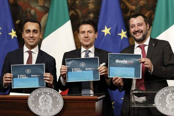 Italian Prime Minister Giuseppe Conte (C), Italian Deputy Premier and Labour and Industry Minister Luigi Di Maio (L) and Italian Deputy Premier and Interior Minister, Matteo Salvini, attend a press conference after a Cabinet at Chigi Palace in Rome, Italy, 17 January 2019.ANSA/RICCARDO ANTIMIANI