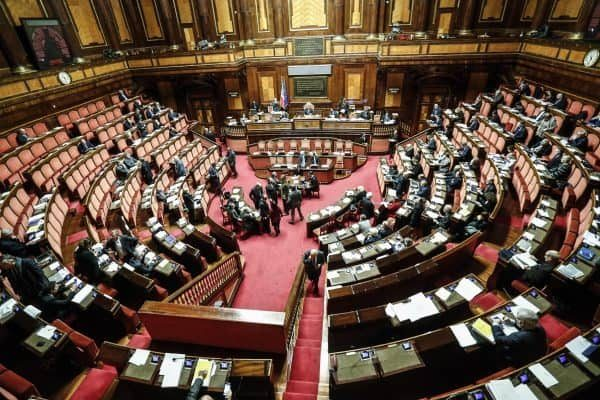 Un momento in Senato durante il voto di fiducia su Legge di Bilancio, Roma 23 dicembre 2017. ANSA/GIUSEPPE LAMI