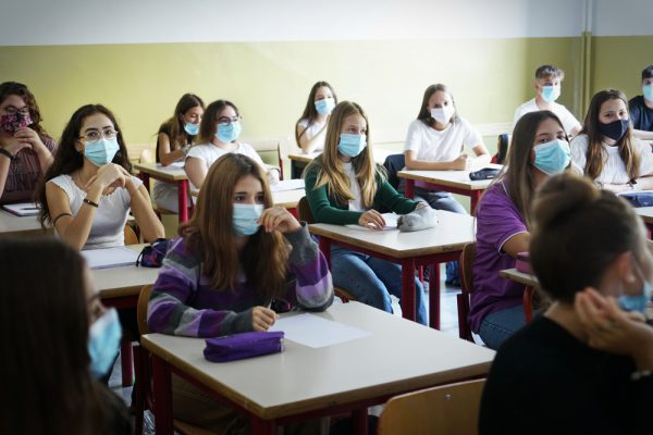 Students,With,Face,Mask,Back,At,School,After,Covid-19,Quarantine
