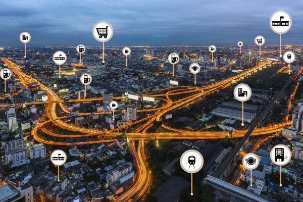 Smart,City,Things,Icons,Mesh,On,City,Traffic,Night,Background