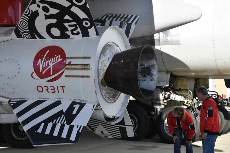 Virgin Orbit Girl performed its first-ever drop test today Wednesday Mojave CA. July 10,2019. The releasing a LauncherOne rocket from its Boeing 747 carrier plane over California's Mojave Desert. photo by Gene Blevins/ZumaPress (Credit Image: © Gene Blevins/ZUMA Wire)
