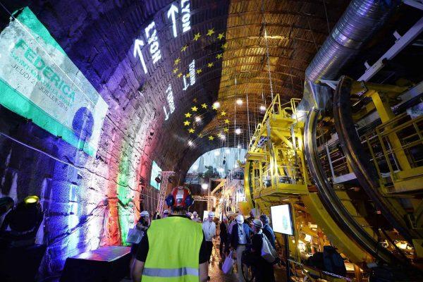 Presentazione dello scavo del versante Francese a Saint Martin La Porte del tunnel Ferroviario Lyon-Turin, Torino, 21 Luglio 2016 ANSA/ ALESSANDRO DI MARCO
