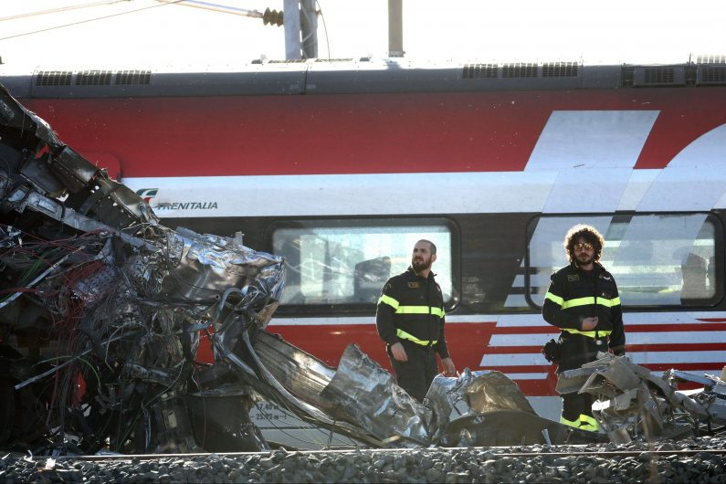 Firefighters at work near the train that derailed in Livraga, near Lodi, northern Italy, 06 February 2020.  A high-speed train derailed near Lodi in northern Italy on Thursday killing the two drivers and injuring 31 passengers and staff. There were 28 passengers on board. The train, travelling from Milan to Salerno, was outside Livraga when the accident happened. Two of the injured have been taken to hospital in code yellow. According to a preliminary reconstruction, the train's engine derailed and first hit a trolley car that was on a parallel line and then hit a railway building where it came to a halt. The rest of the train was said to have continued running until the second carriage overturned. ANSA / MATTEO BAZZI